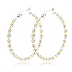 Šperky eshop - Splietané náušnice z ocele 316L, kruhy, dvojfarebné prevedenie U28.01