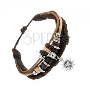 Nastaviteľný náramok, koža a šnúrky, ozdobné krúžky, patinované slniečko