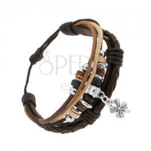 Nastaviteľný náramok, šnúrky, koža, oceľové a drevené ozdoby, štvorlístok