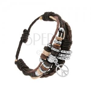 Nastaviteľný náramok z kože a motúzikov, korálky z ocele a dreva, symbol mieru