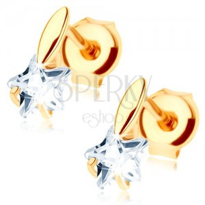 Zlaté náušnice 585 - malé vypuklé zrnko, číra zirkónová hviezdička