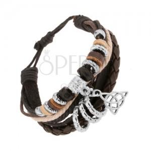 Náramok z kožených pásov a šnúrok, korálky z dreva a ocele, keltský uzol