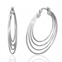 Šperky eshop - Náušnice z chirurgickej ocele, strieborná farba, štyri kruhy U29.12