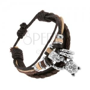 Náramok z kože a šnúrok, nastaviteľný, oceľové a drevené korálky, korytnačka