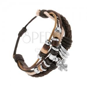 Nastaviteľný náramok, kožené pásy a farebné šnúrky, korálky, štvorlístok