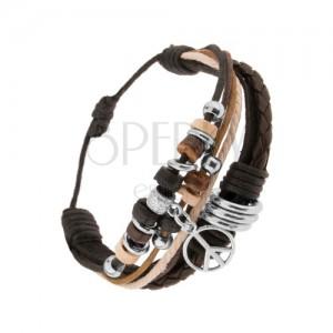 Náramok z kožených pásov a šnúrok, korálky z ocele a dreva, symbol mieru