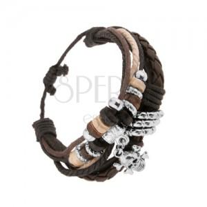 Nastaviteľný náramok, kožené pásy a šnúrky, korálky, lebka s kosťami