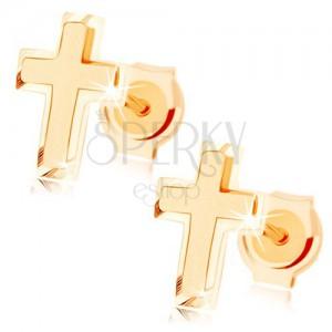Zlaté náušnice 585 - malý latinský krížik, kombinácia lesklého a matného povrchu
