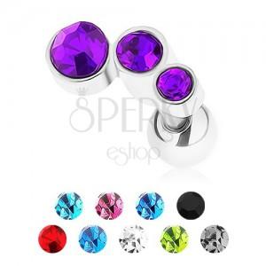 Oceľový piercing do tragusu, strieborná farba, tri farebné zirkóny