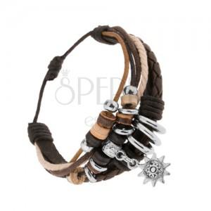 Nastaviteľný náramok z kože a šnúrok, drevené a oceľové korálky, slniečko