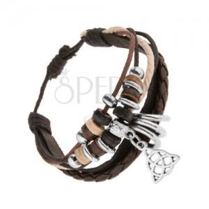 Náramok z kože a šnúrok, ozdoby z dreva a ocele, prívesok - keltský uzol
