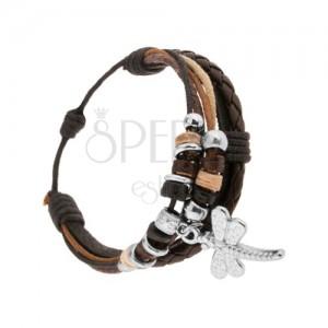 Nastaviteľný náramok, kožené pásiky a šnúrky, dekoratívne krúžky, vážka