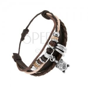 Pletený náramok, kožené pásiky, farebné šnúrky, krúžky, korytnačka