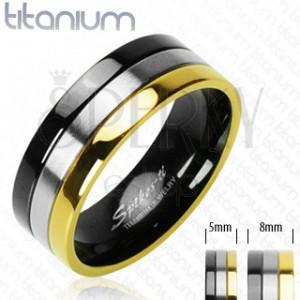 Titánové obrúčky s pruhom v ónyxovej, striebornej a zlatej farbe
