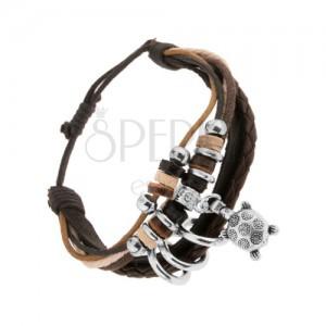 Multináramok - čierny kožený pás, šnúrky, kolieska, korytnačka s kvetmi