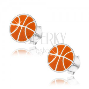 Strieborné náušnice 925, basketbalová lopta s oranžovou glazúrou, puzetky