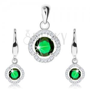 Strieborný 925 set, prívesok a náušnice, zelený zirkón, číry zvlnený lem