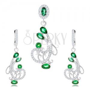 Set náušníc a prívesku, striebro 925, ornament - špirály, číre a zelené zirkóny