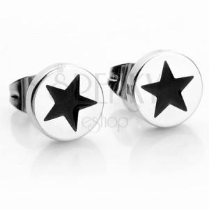 Okrúhle oceľové náušnice v striebornej farbe, čierna hviezdička