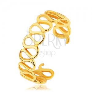 Rozťahovací strieborný prsteň 925, zlatá farba, lesklé prepojené slučky