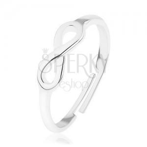 Lesklý strieborný prsteň 925, nastaviteľný, symbol nekonečna - INFINITY