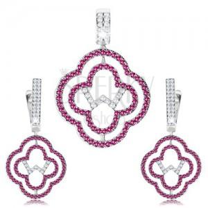 Set náušníc a prívesku, striebro 925, obrysy kvetov, číre a ružové zirkóny