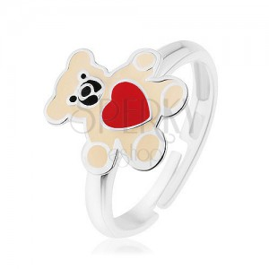 Strieborný prsteň 925, macík zdobený krémovou glazúrou a červeným srdcom