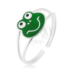 Prsteň zo striebra 925, rozdelené lesklé ramená, veselá žabka, zelená glazúra