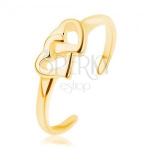 Rozťahovací strieborný prsteň 925, zlatý odtieň, prepojené kontúry sŕdc