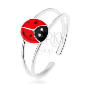 Prsteň zo striebra 925, rozdvojené ramená, červená bodkovaná lienka