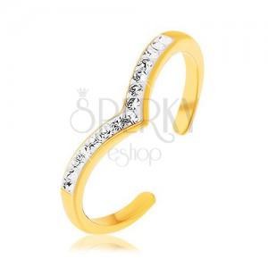 Strieborný prsteň 925 zlatej farby, špicatá línia s bielou glazúrou, číre zirkóny