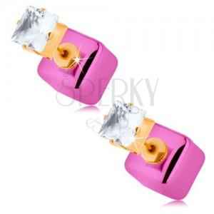 Obojstranné náušnice zlatej farby, číry ligotavý zirkón, lesklá ružová kocka