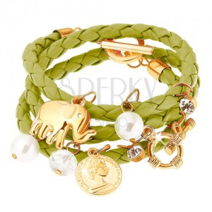 Multináramok - zelený pletenec, sloník, minca, číre a perleťovo biele korálky
