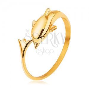 Lesklý prsteň zo striebra 925, zlatá farba, delfín s predĺženým chvostom