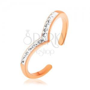 Strieborný prsteň 925 medenej farby, špicatá biela línia s čírymi zirkónmi