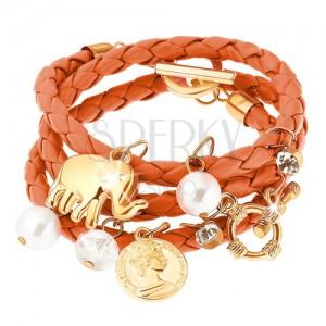 Pletený náramok, oranžová farba, prívesky - korálky, minca, slon, zirkóny