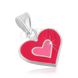 Strieborný 925 prívesok, dvojité srdce, glazúra v odtieňoch ružovej farby