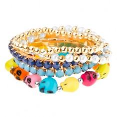 Šperky eshop - Multináramok - elastický, guľaté korálky, korálky v kotlíku, farebné lebky U28.17