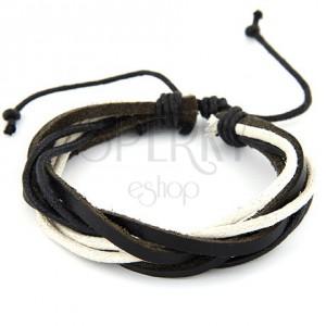 Šnúrkový náramok, čierna a béžová farba, nastaviteľná dĺžka