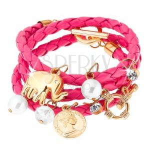 Pletený náramok, ružový odtieň, prívesky - korálky, zirkóny, slon, minca