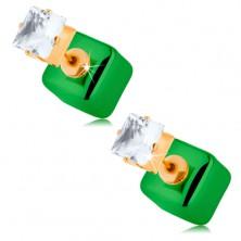 Obojstranné náušnice, lesklá kocka, zelený odtieň, priehľadný zirkón