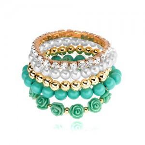 Multináramok, elastický, korálky, tyrkysová, zlatá a biela farba