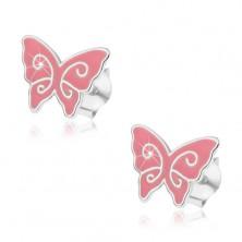 Strieborné náušnice 925, plochý ružový motýlik, lesklé špirály, puzetky