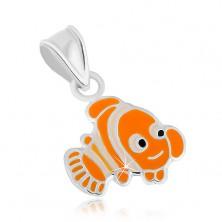 Strieborný prívesok 925, veselá oranžová rybka Nemo, lesklé kontúry