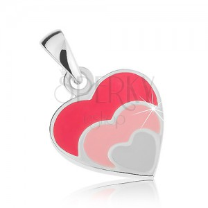 Prívesok, striebro 925, trojité srdce - tmavoružová, svetloružová, biela glazúra