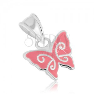 Strieborný prívesok 925, motýlik s ružovou glazúrou a lesklými líniami