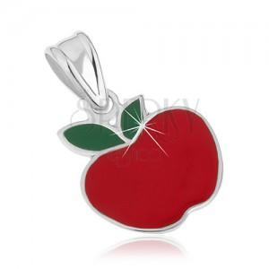 Strieborný prívesok 925 - jabĺčko červenej farby, zelené lístky, glazúra