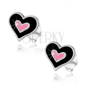 Puzetové náušnice, striebro 925, dvojité srdce s čiernou a ružovou glazúrou