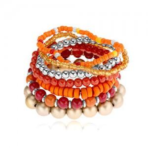 Elastický multináramok, korálky rôznych tvarov, červená, oranžová, zlatá farba