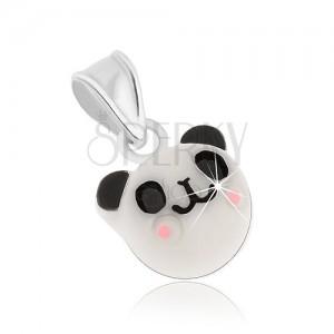 Prívesok zo striebra 925, veselá biela panda - čierne uši a oči, ružové líčka